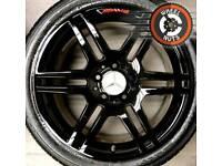 "17"" Genuine Mercedes AMG C Class alloys staggered refurb black/red."