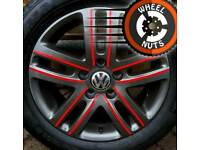 """16"""" Genuine VW alloys Caddy Golf customised anthracite/red premium tyres."""