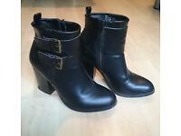 Ladies Heeled Ankle Black Boots - UK3.5/EU36.5