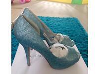 BNIB blue glittery shoes size 6