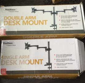2x flat screen monitor DESK MOUNTS. NEW.
