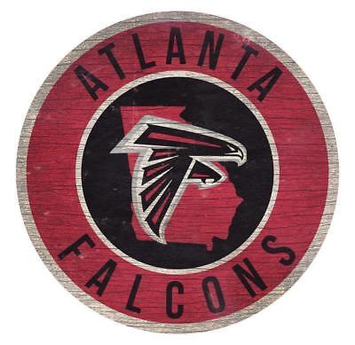Atlanta Falcons Circle w/ State Football Wood Sign NEW 12
