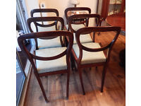 Set of 6 Victorian Mahogany Balloon Back Dining Chairs, Green Material covers