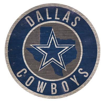 Dallas Cowboys Circle w/ State Football Wood Sign NEW 12