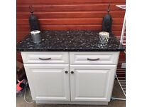 Free standing white cupboard with a lovely marble top