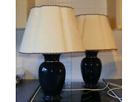 2 x Blue and Cream Table Lamps