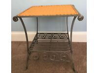 Ornate Metal & Wicker Coffee Table H22in/56cmW22in/56cmD20in/51cm