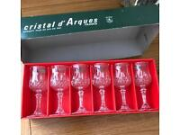 Set of 6 crystal sherry shot liqueur glasses