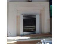 Gas fire inset, sandstone surround