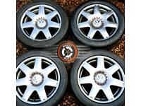 """17"""" Genuine VW alloys 5x100 refurb Anthracite Grey Metallic great tyres."""