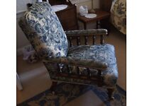 Edwardian Blue Damask and Mahogany Arm Chair