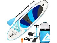 Inflatable Stand up Board with Fins Adjustable Paddle Black Kayak Leash Backpack Pump with Gauge