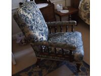 Edwardian Mahogany and Upholstered Arm Chair in Blue and Gold Damask