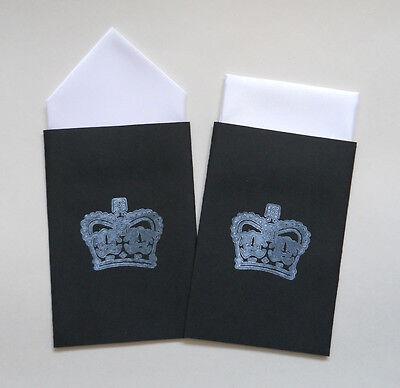 MEN'S POCKET HANKIES - SET OF TWO WHITE - FIXED PREFOLDED HANDKERCHIEF IN CARD