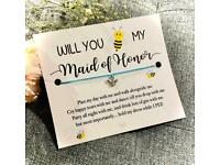 🤍 Will You 🐝 My Maid Of Honour 🤍 Make A Wish Charm Bracelet Gift