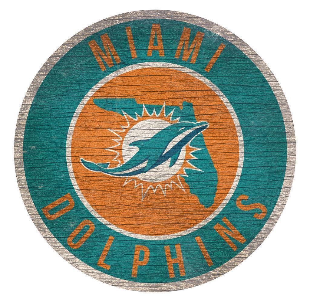 """Miami Dolphins Kreis W / Staat Fußball Holz Zeichen Neu 12 """" Rund Deko Geschenk"""