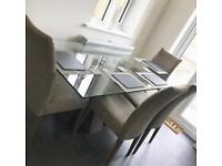 Luxury Dining Room Table + 4 Fabric Chairs