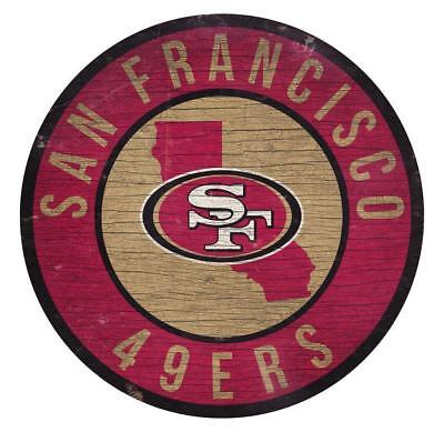 San Francisco 49ers Circle w/ State Football Wood Sign NEW 12