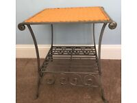 Unique Coffee Table / Conservatory Table Rattan Top Metal Attractive Base & Shelf See desc for size