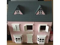 Wooden dolls play house pink with accessories collect Leven