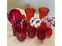 Joblot of red glass items, various, vases, decrotive, bottles, etc (gb55)
