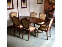 Mahogany Extending Dining Table With 6 Chairs & Corner Cabinet
