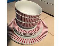 £3 10 plates red stripes sainsburys