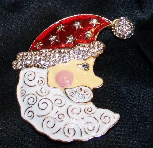 Rhinestone Enamel Santa Moon Christmas Pin Brooch-Signed Napier-New
