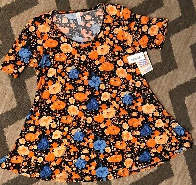 NEW LuLaRoe Perfect T Shirt Tunic Orange Floral - Size Small - New with Tags -