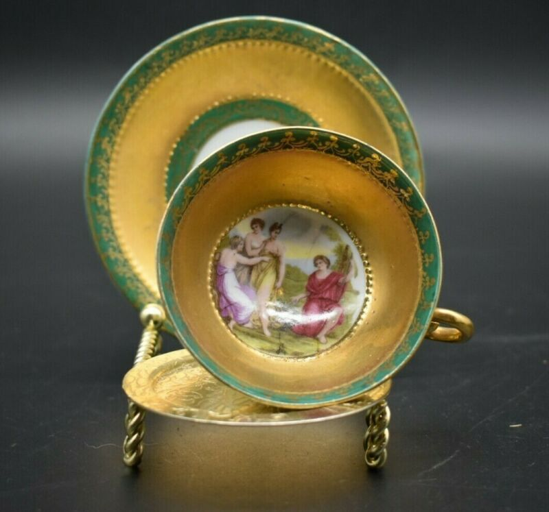 B&L Royal Vienna Austrian Classical Scene Green & Gold Footed Cup & Saucer Set