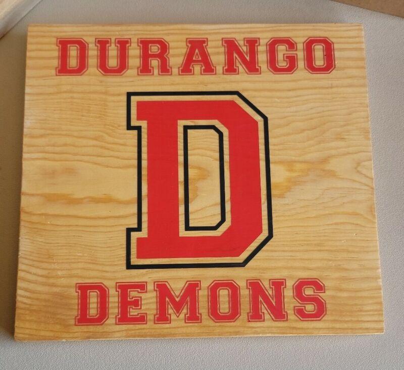 "Durango Demons High school Team Wood plaque Durango Colorado 11""x12"""