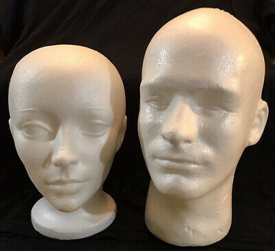 Lot Of 2 - Male And Female Mannequin Styrofoam 12 Heads With Faces - Display
