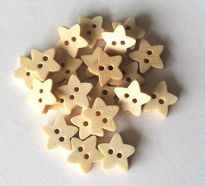 20 Holzknöpfe Knopf natur Sterne 12 mm mit 2 Äuglein 1,5 mm