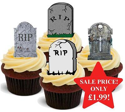 12 NOVELTY HALLOWEEN STAND UPS Gravestone Graveyard New Mix Edible Cake Toppers](Graveyard Cake Halloween)