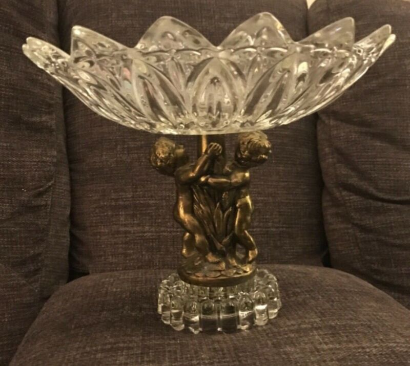 """Antique Cut Glass With Brass Cherubs on Glass Pedestal Candy Compote Dish 10"""""""
