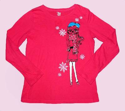 THE CHILDRENS PLACE TCP Pink Winter Girl Snowflakes Top XL 14