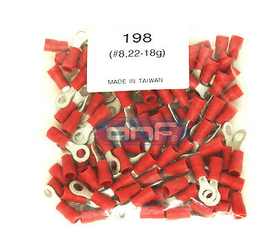 18 Gauge Electrical Wire - (100 PACK) 22-18 GAUGE RED RING TERMINALS ELECTRICAL WIRE CONNECTORS #8
