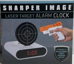Sharper Image Laser Target Alarm Clock- White (New In Box)