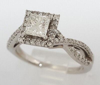 0.77 ct 14K White Gold Princess Cut Diamond Engagement Ring GIA G / VS2 9