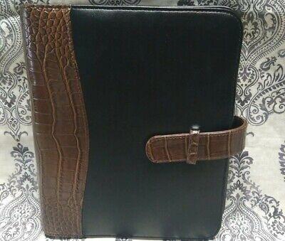 Vintage Franklin Covey Brownblack Leather 1 Ring Planner Binder Croc Embossed