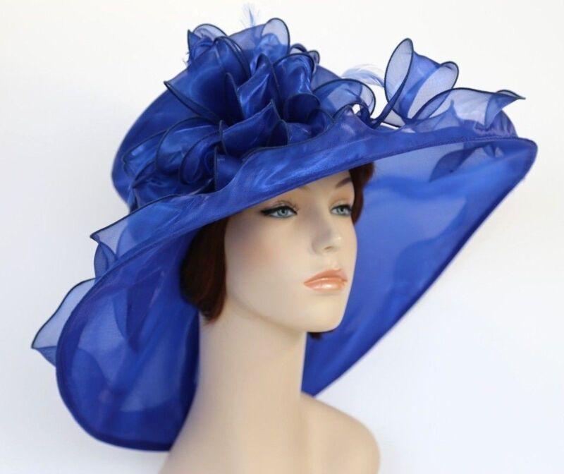 New Church Kentucky Derby Wedding Organza Wide Brim Dress Hat 3546 Navy