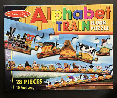 MELISSA & DOUG Alphabet Train Animals  FLOOR PUZZLE 28 Pc 10 Ft # 424