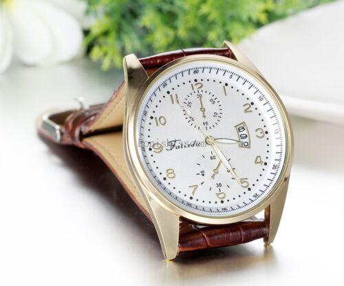 как выглядит Наручные часы Leather Band Round Quartz Analog Elegant Classic Casual Men