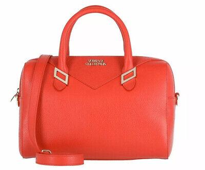 Versace Collection Pebble Leather Top Handle Handbag - Red