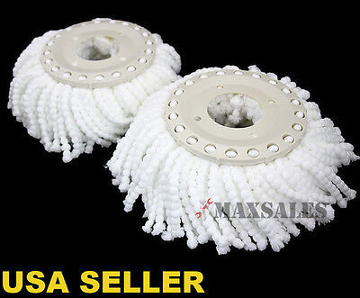New 2Pc Replacement Mop Head Refill For 360 Magic Spin Mop Long Microfiber