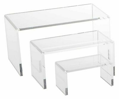 Clear Acrylic Riser Jewelry Showcase Fixture Counter Display Riser Set Of 3