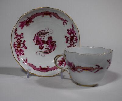 1 Meissen Rich Court Pink Dragon Pink Tea Cup & Saucer with Gilding.