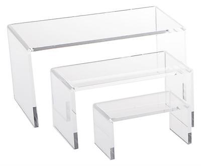 Multi-purpose 3 Piece Clear Acrylic Riser Set Display Jewelry Showcase Fixture