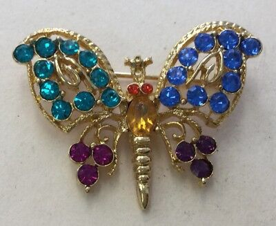 Vintage Costume Goldtone Multi Colored Rhinestone Butterfly Pin YYB28
