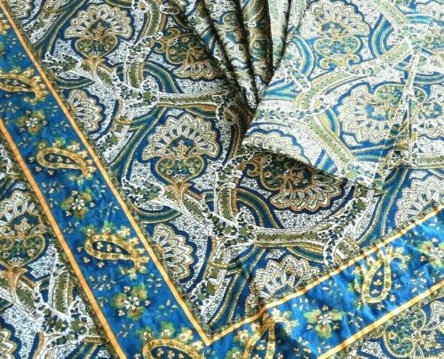 Williams Sonoma Tablecloth & Napkins - Hand Blocked Blue Paisley French Country